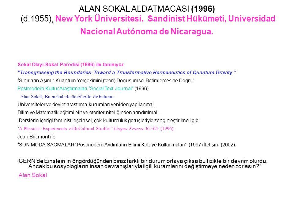 ALAN SOKAL ALDATMACASI (1996) (d. 1955), New York Üniversitesi