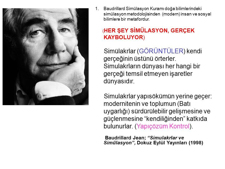 Baudrillard Simülasyon Kuramı doğa bilimlerindeki simülasyon metodolojisinden (modern) insan ve sosyal bilimlere bir metafordur.
