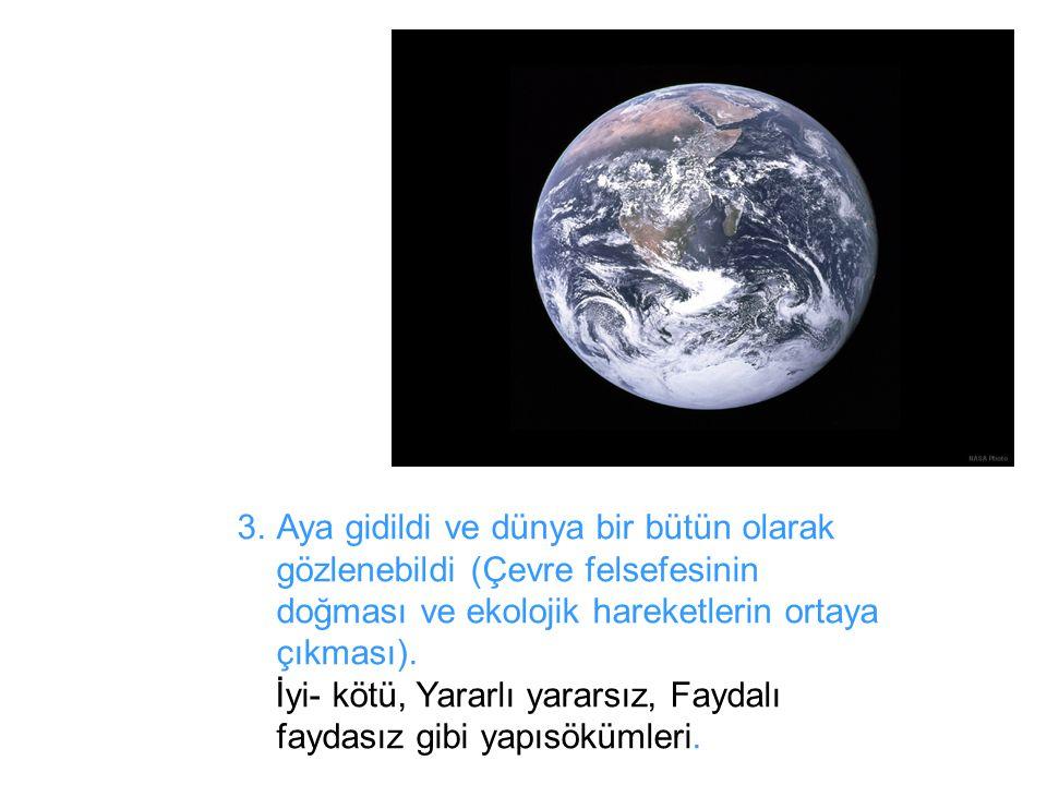 Aya gidildi ve dünya bir bütün olarak gözlenebildi (Çevre felsefesinin doğması ve ekolojik hareketlerin ortaya çıkması).
