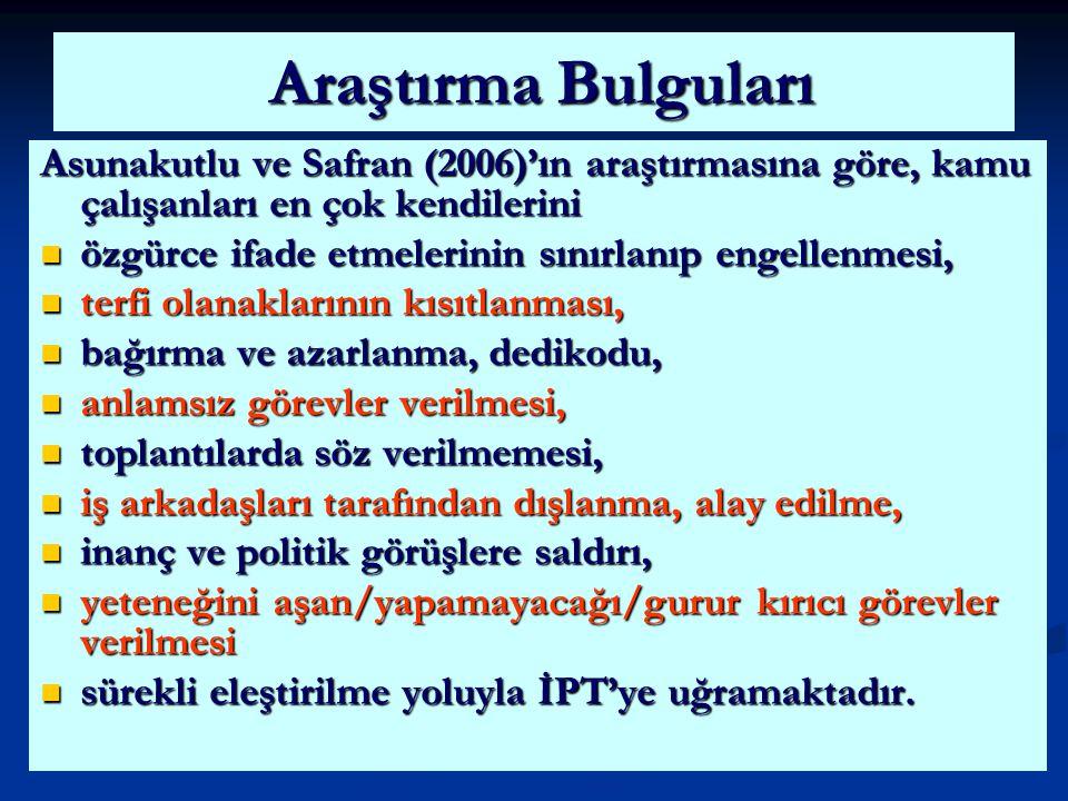 Araştırma Bulguları Asunakutlu ve Safran (2006)'ın araştırmasına göre, kamu çalışanları en çok kendilerini.