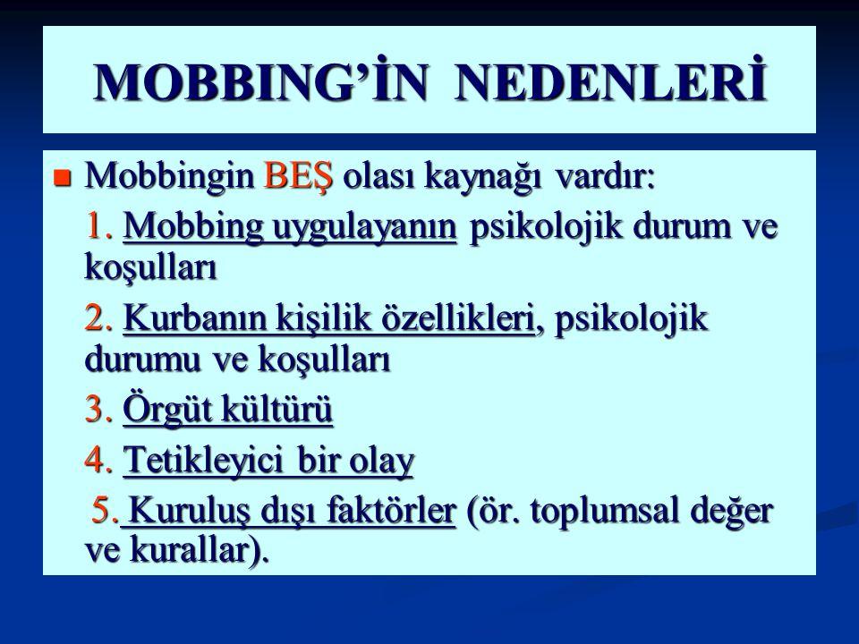 MOBBING'İN NEDENLERİ Mobbingin BEŞ olası kaynağı vardır: