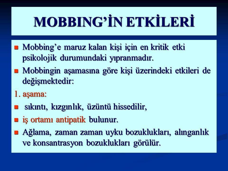 MOBBING'İN ETKİLERİ Mobbing'e maruz kalan kişi için en kritik etki psikolojik durumundaki yıpranmadır.