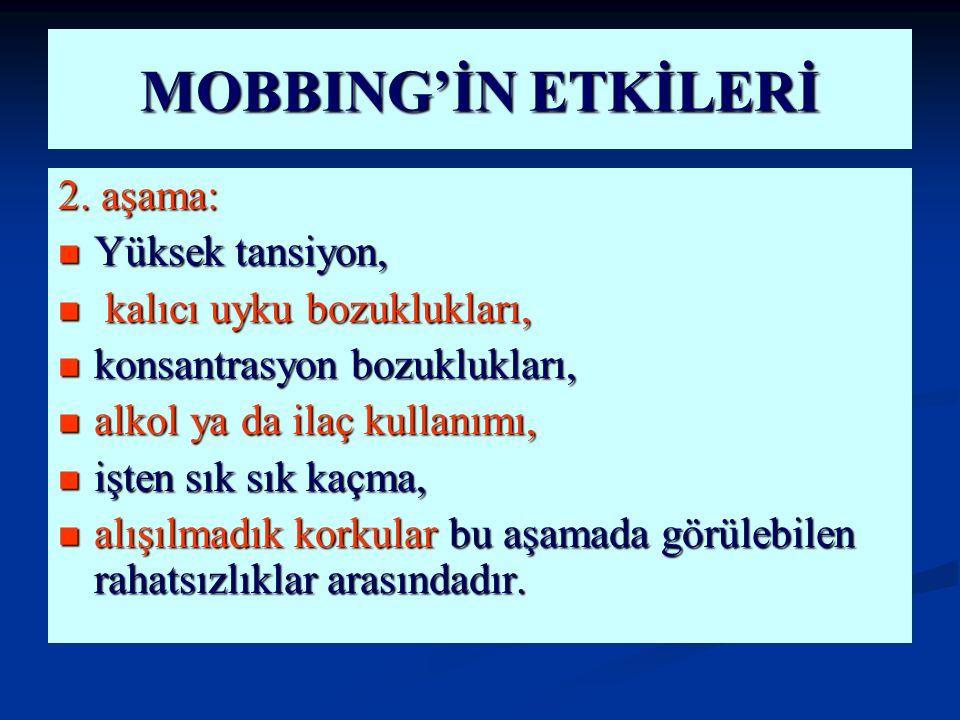 MOBBING'İN ETKİLERİ 2. aşama: Yüksek tansiyon,