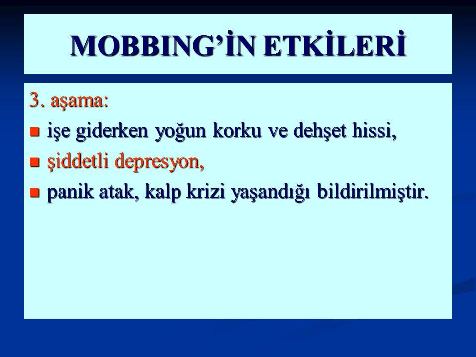 MOBBING'İN ETKİLERİ 3. aşama: