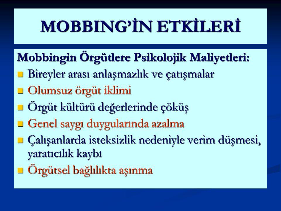 MOBBING'İN ETKİLERİ Mobbingin Örgütlere Psikolojik Maliyetleri: