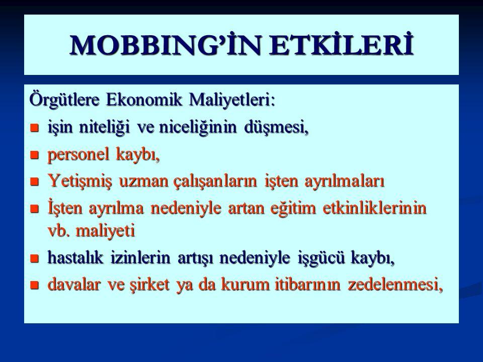 MOBBING'İN ETKİLERİ Örgütlere Ekonomik Maliyetleri: