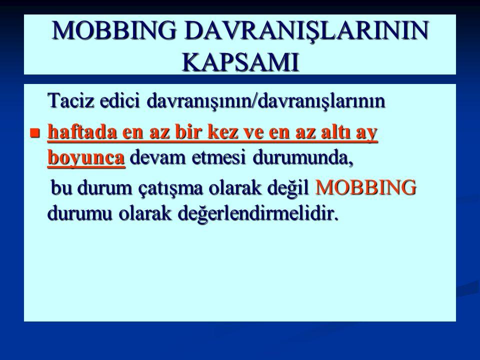 MOBBING DAVRANIŞLARININ KAPSAMI