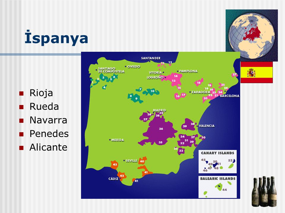 İspanya Rioja Rueda Navarra Penedes Alicante