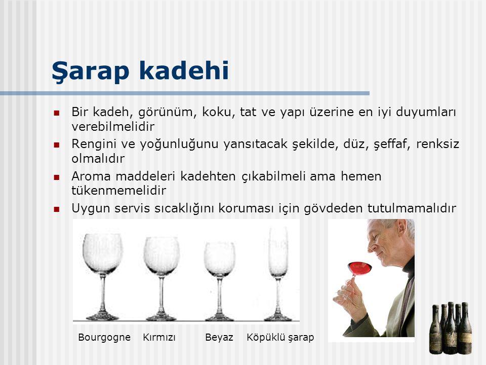 Şarap kadehi Bir kadeh, görünüm, koku, tat ve yapı üzerine en iyi duyumları verebilmelidir.