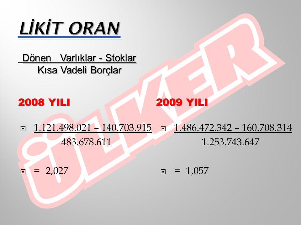 LİKİT ORAN Kısa Vadeli Borçlar 2008 YILI 2009 yILI