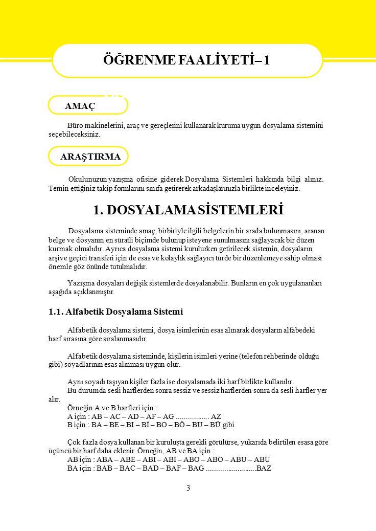 ÖĞRENME FAALİYETİ– 1 ÖĞRENME FAALİYETİ– 1 1. DOSYALAMA SİSTEMLERİ