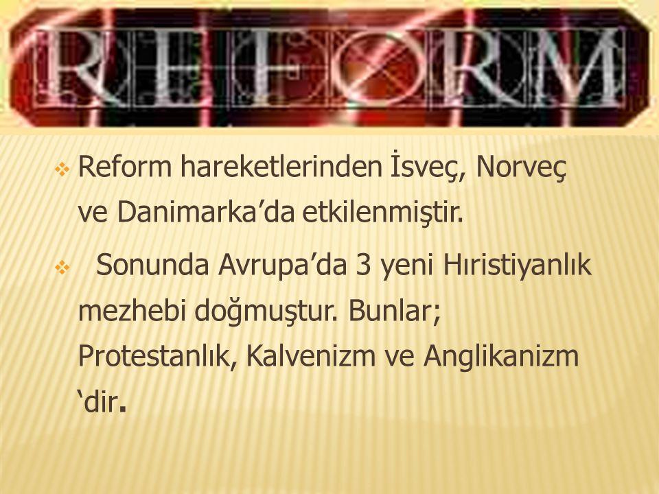 Reform hareketlerinden İsveç, Norveç ve Danimarka'da etkilenmiştir.