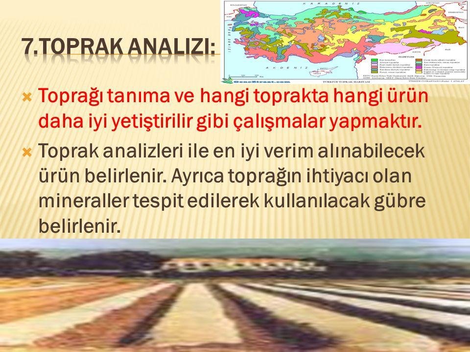 7.Toprak Analizi: Toprağı tanıma ve hangi toprakta hangi ürün daha iyi yetiştirilir gibi çalışmalar yapmaktır.