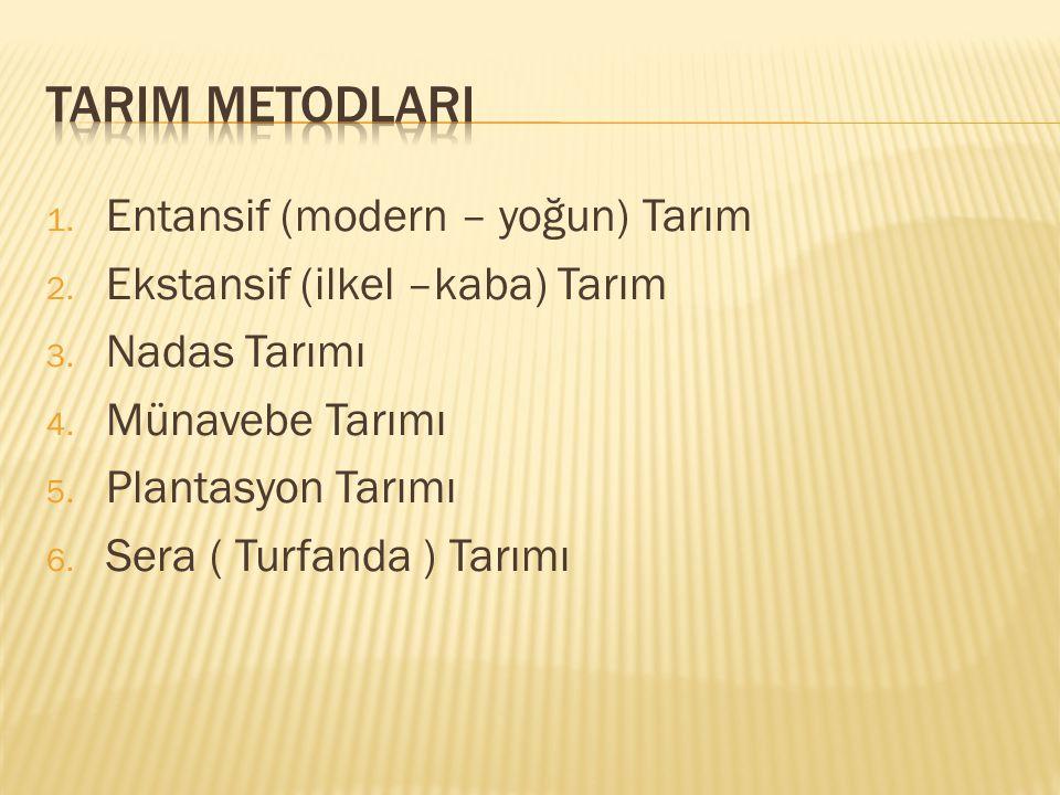TARIM METODLARI Entansif (modern – yoğun) Tarım