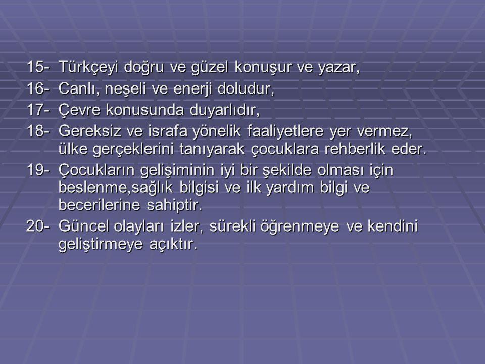 15- Türkçeyi doğru ve güzel konuşur ve yazar,