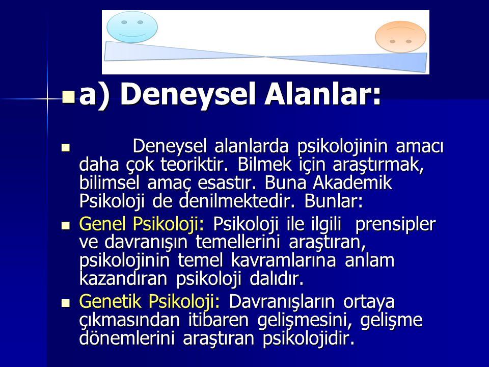 a) Deneysel Alanlar: