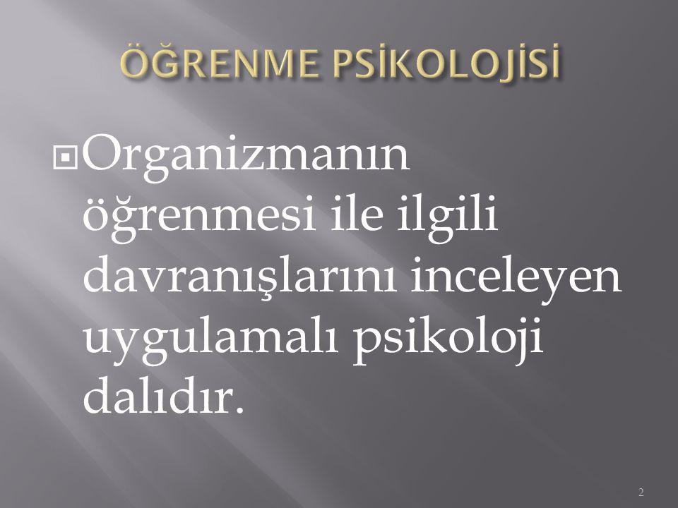 ÖĞRENME PSİKOLOJİSİ Organizmanın öğrenmesi ile ilgili davranışlarını inceleyen uygulamalı psikoloji dalıdır.