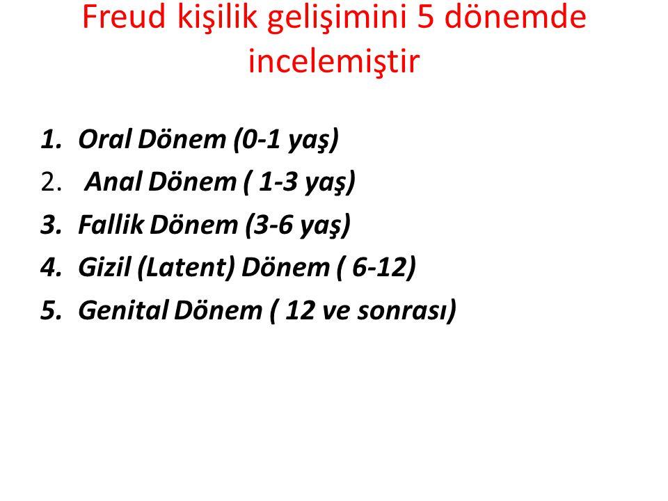 Freud kişilik gelişimini 5 dönemde incelemiştir