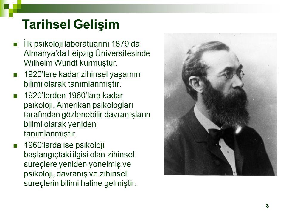 Tarihsel Gelişim İlk psikoloji laboratuarını 1879'da Almanya'da Leipzig Üniversitesinde Wilhelm Wundt kurmuştur.