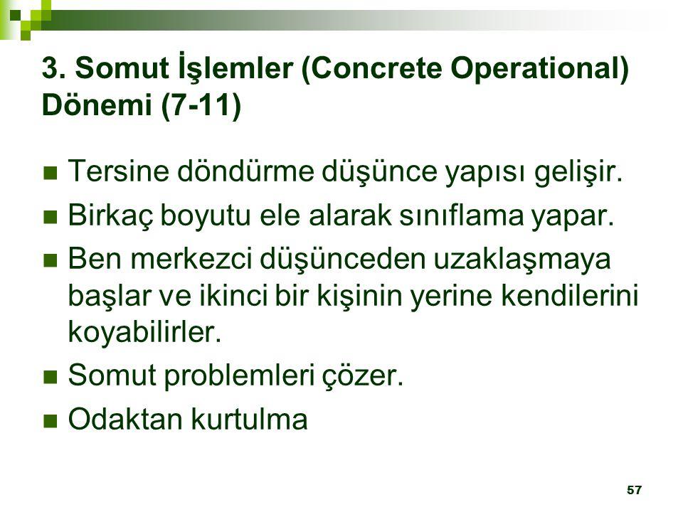 3. Somut İşlemler (Concrete Operational) Dönemi (7-11)