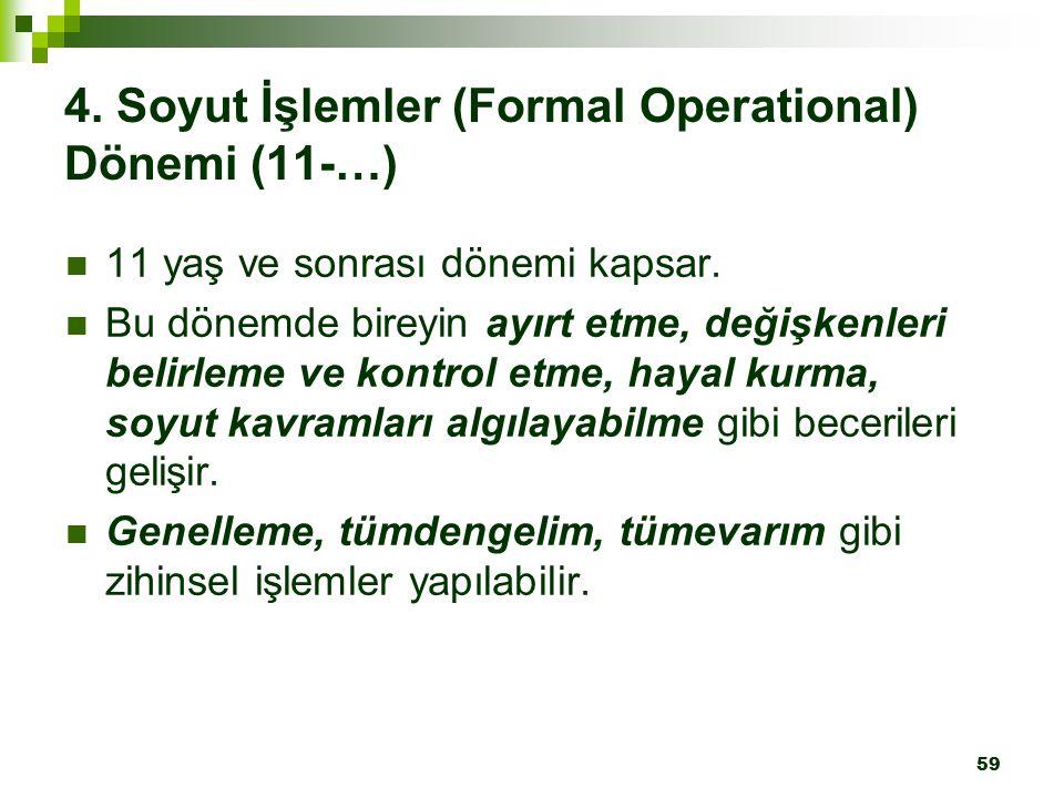 4. Soyut İşlemler (Formal Operational) Dönemi (11-…)