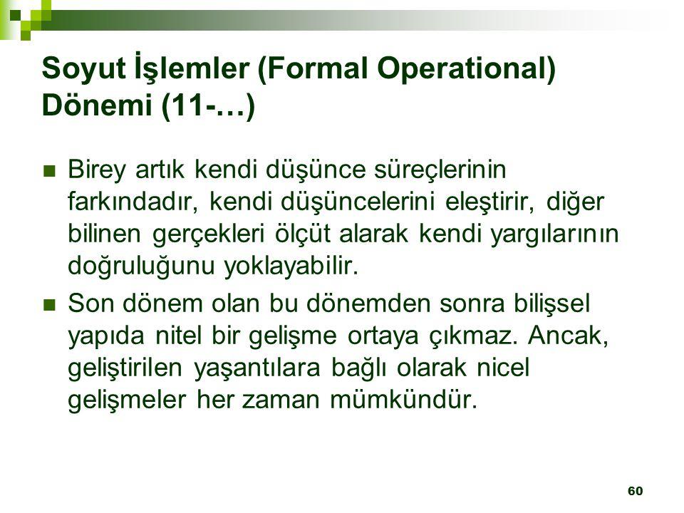 Soyut İşlemler (Formal Operational) Dönemi (11-…)