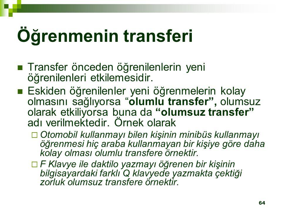 Öğrenmenin transferi Transfer önceden öğrenilenlerin yeni öğrenilenleri etkilemesidir.