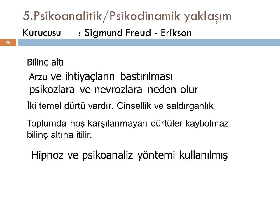 5.Psikoanalitik/Psikodinamik yaklaşım