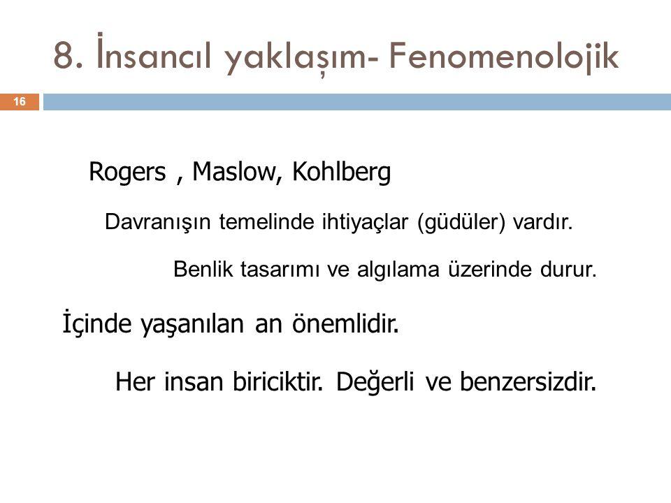 8. İnsancıl yaklaşım- Fenomenolojik