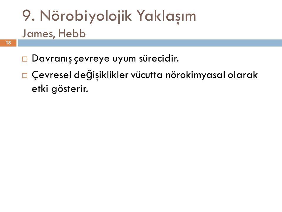 9. Nörobiyolojik Yaklaşım James, Hebb