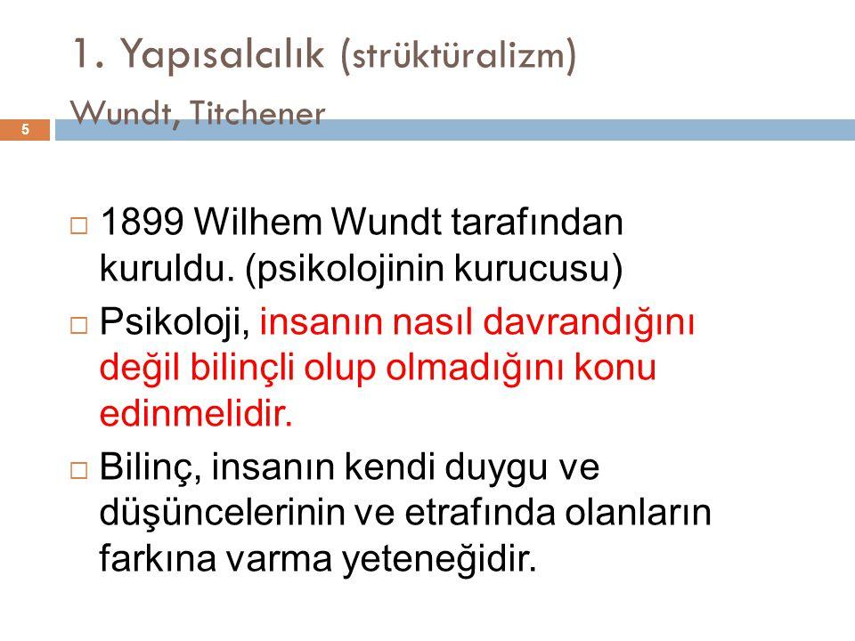 1. Yapısalcılık (strüktüralizm) Wundt, Titchener
