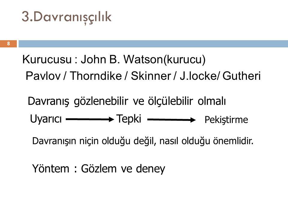 3.Davranışçılık Kurucusu : John B. Watson(kurucu) Pavlov / Thorndike / Skinner / J.locke/ Gutheri Davranış gözlenebilir ve ölçülebilir olmalı.