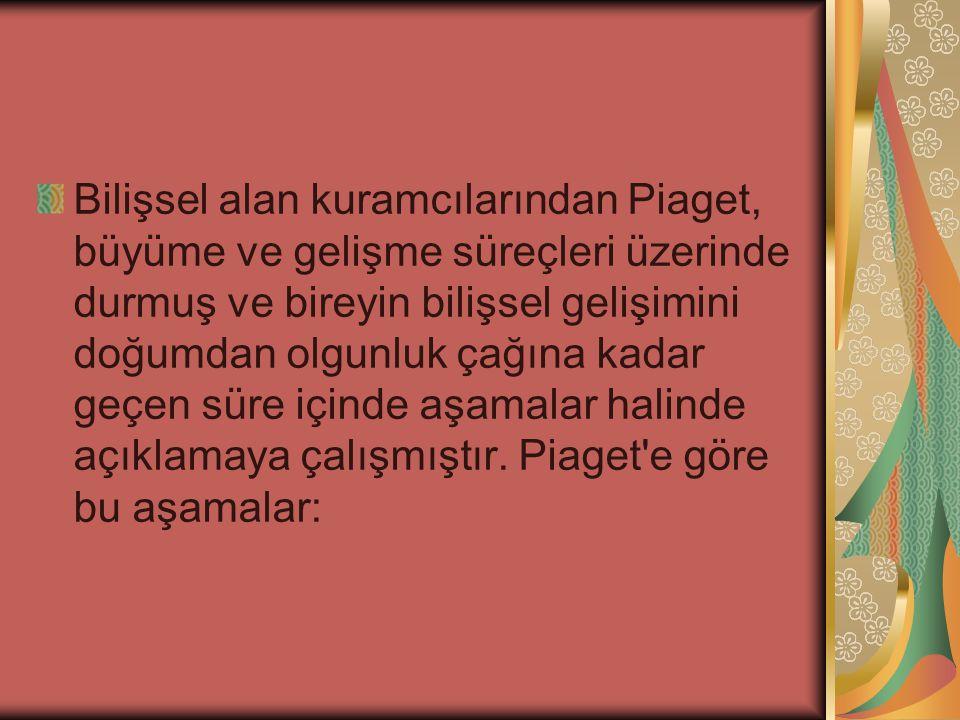 Bilişsel alan kuramcılarından Piaget, büyüme ve gelişme süreçleri üzerinde durmuş ve bireyin bilişsel gelişimini doğumdan olgunluk çağına kadar geçen süre içinde aşamalar halinde açıklamaya çalışmıştır.