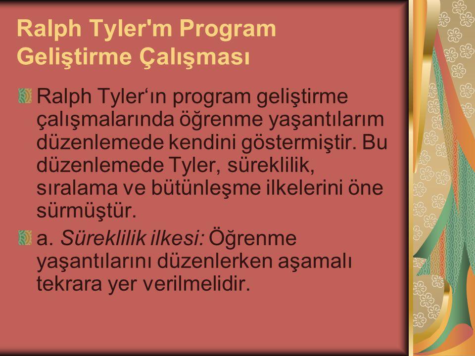 Ralph Tyler m Program Geliştirme Çalışması