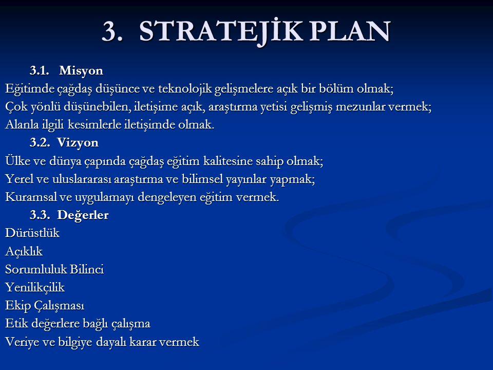 3. STRATEJİK PLAN 3.1. Misyon. Eğitimde çağdaş düşünce ve teknolojik gelişmelere açık bir bölüm olmak;