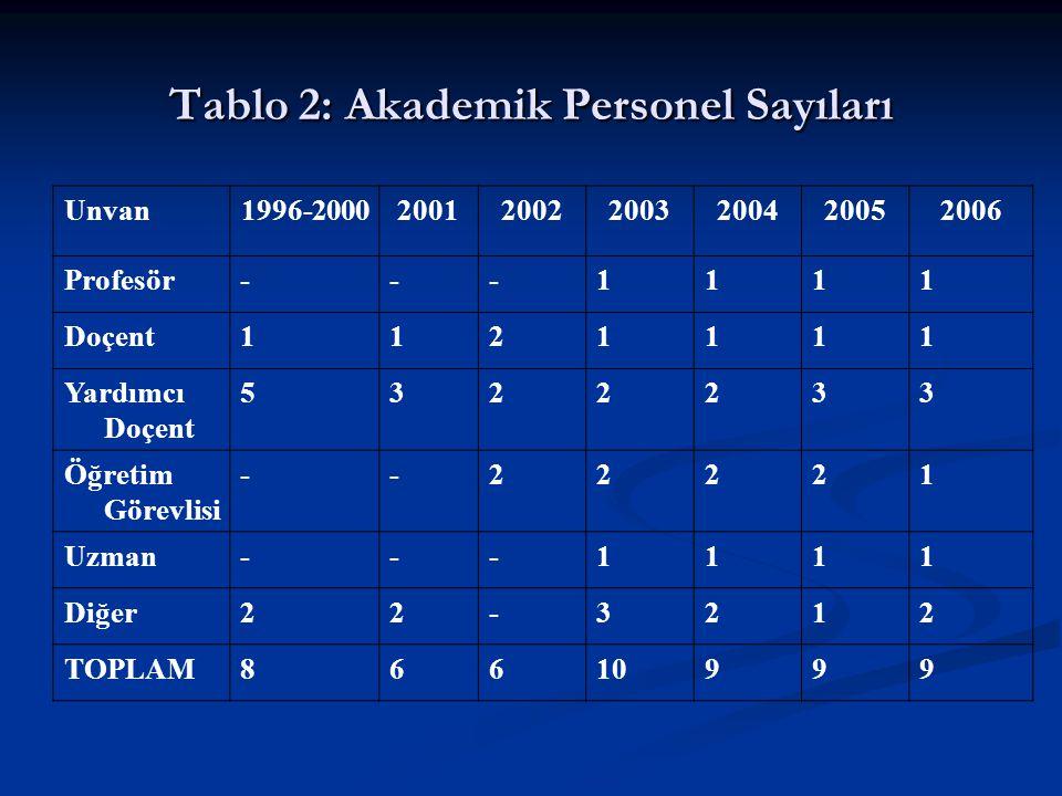 Tablo 2: Akademik Personel Sayıları