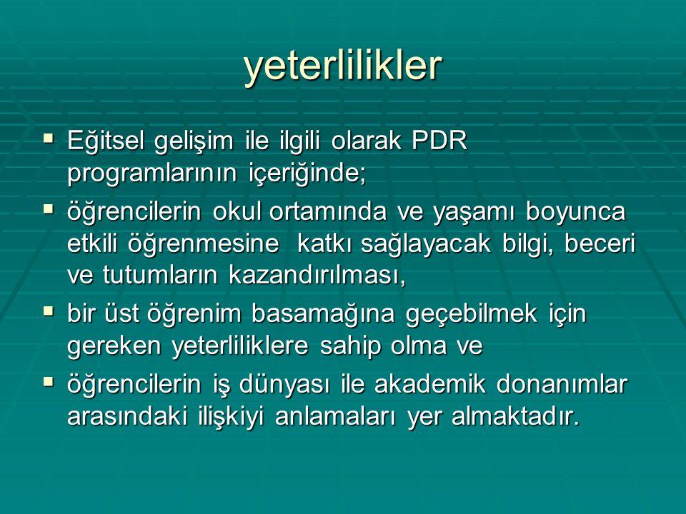 yeterlilikler Eğitsel gelişim ile ilgili olarak PDR programlarının içeriğinde;