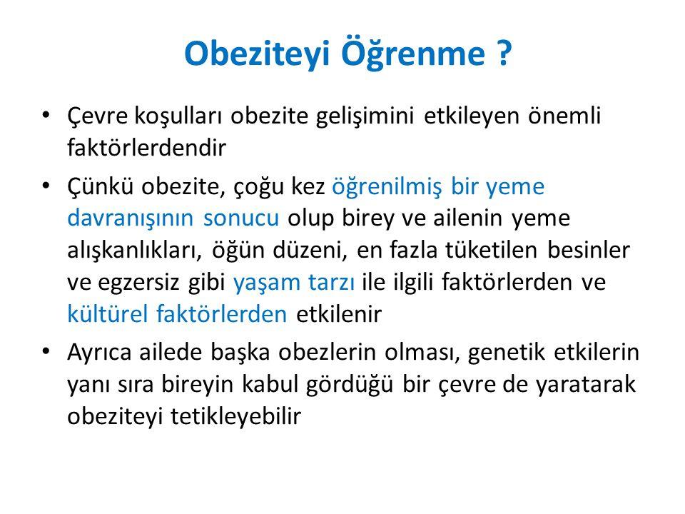 Obeziteyi Öğrenme Çevre koşulları obezite gelişimini etkileyen önemli faktörlerdendir.