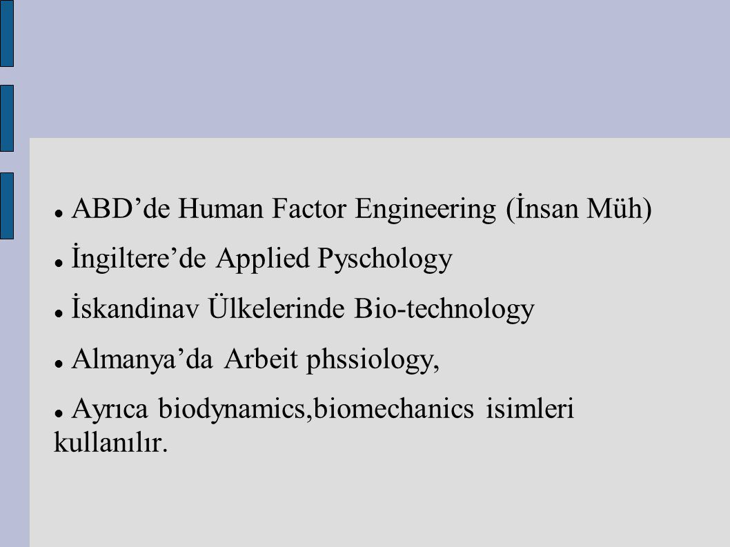ABD'de Human Factor Engineering (İnsan Müh)
