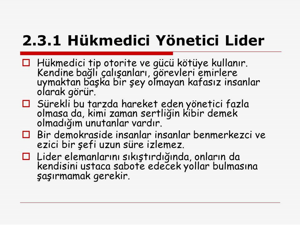 2.3.1 Hükmedici Yönetici Lider