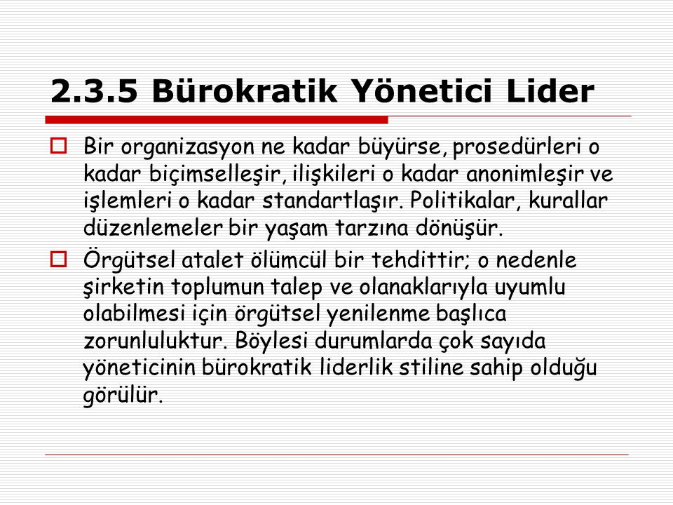 2.3.5 Bürokratik Yönetici Lider