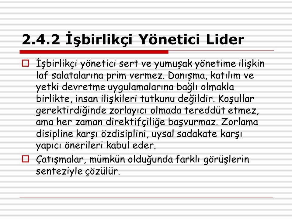 2.4.2 İşbirlikçi Yönetici Lider