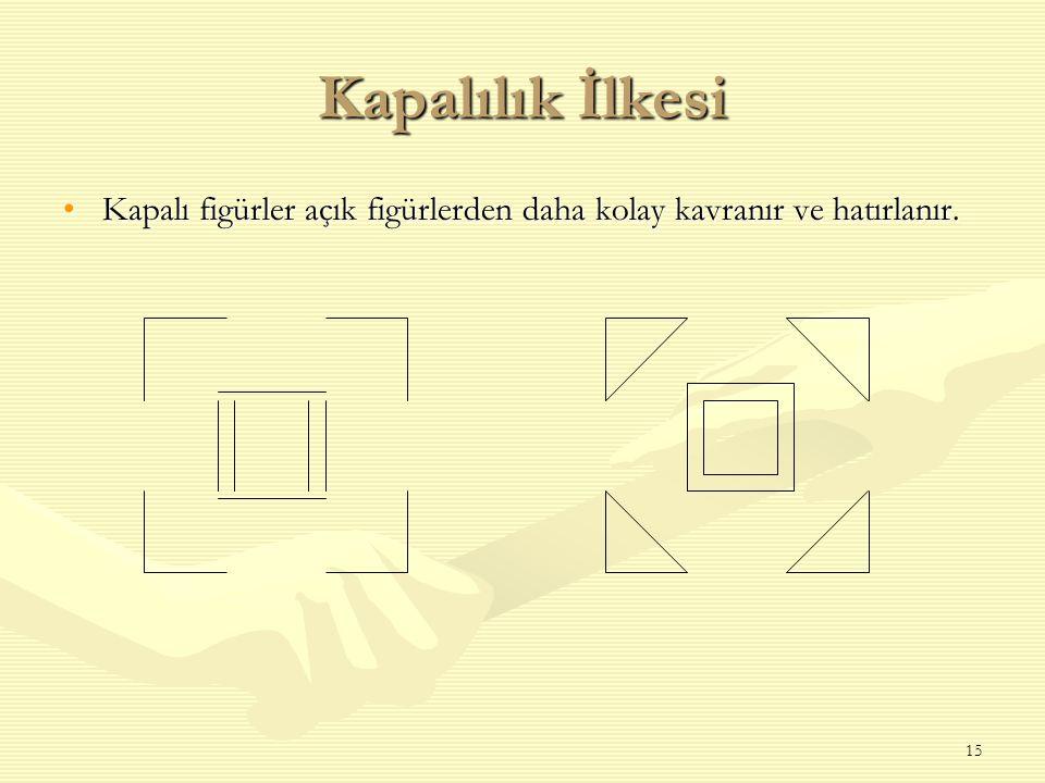 Kapalılık İlkesi Kapalı figürler açık figürlerden daha kolay kavranır ve hatırlanır.