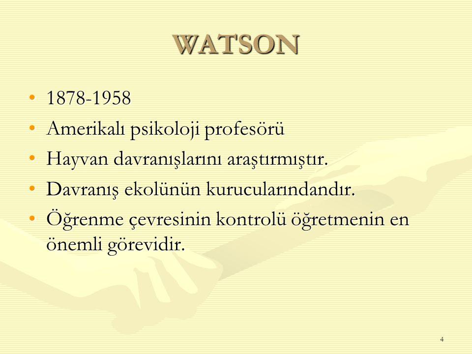 WATSON 1878-1958 Amerikalı psikoloji profesörü