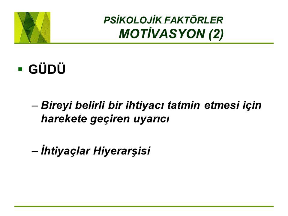 PSİKOLOJİK FAKTÖRLER MOTİVASYON (2)