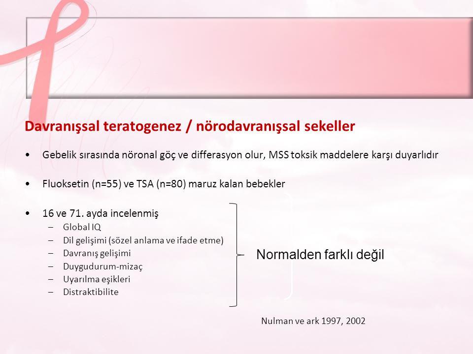 Davranışsal teratogenez / nörodavranışsal sekeller