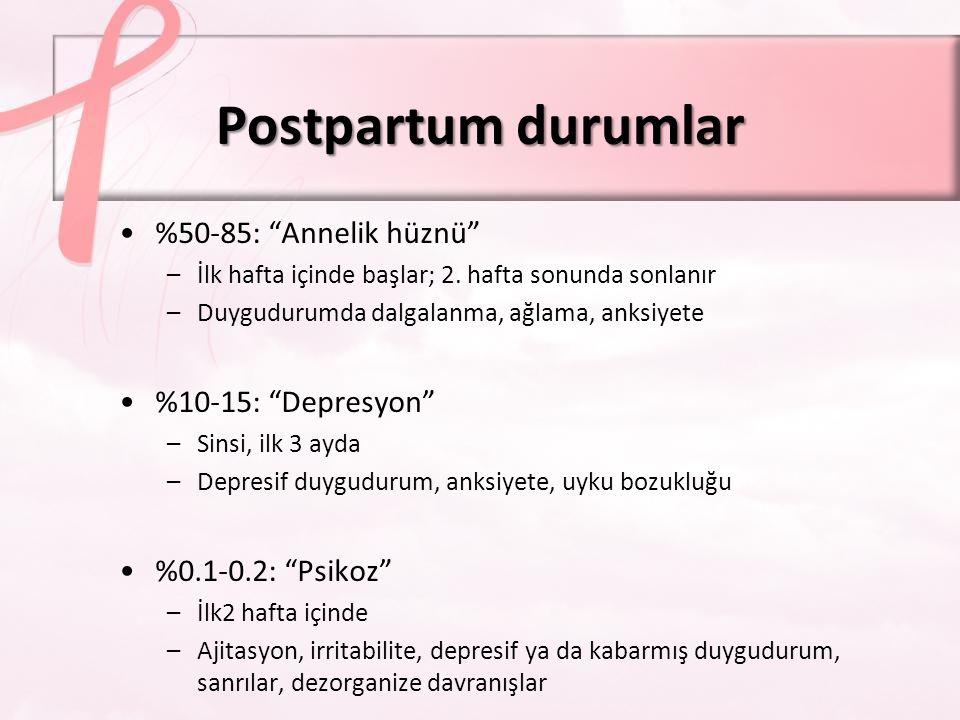 Postpartum durumlar %50-85: Annelik hüznü %10-15: Depresyon