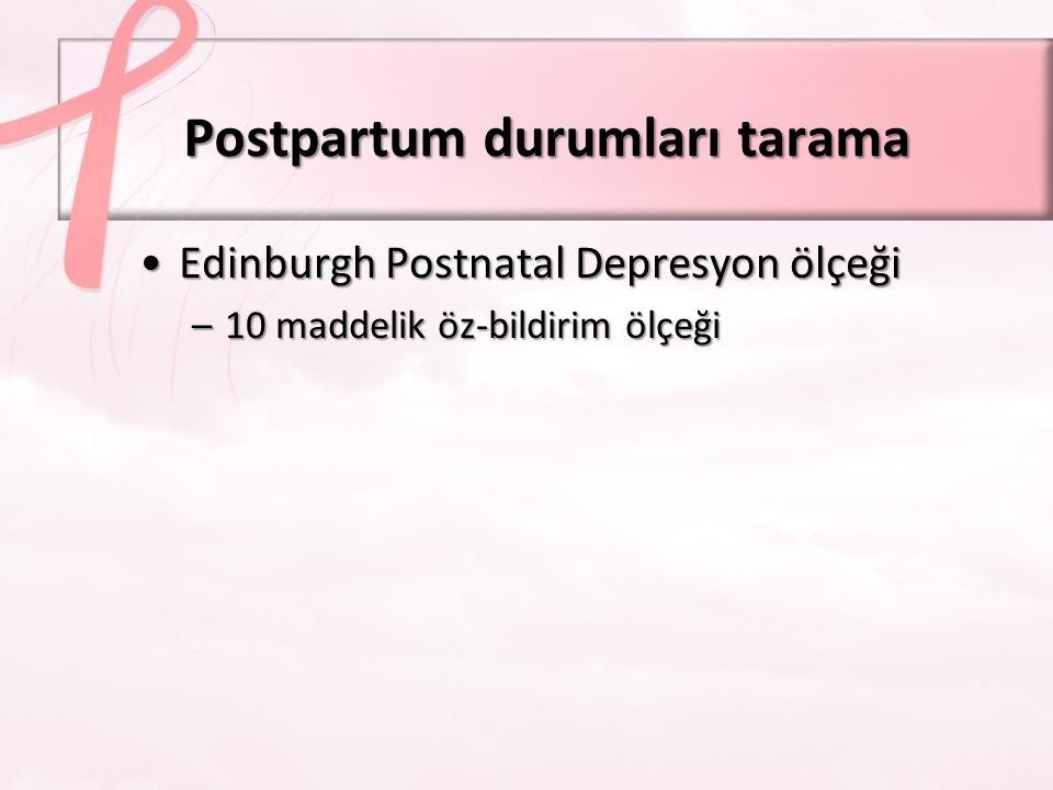 Postpartum durumları tarama