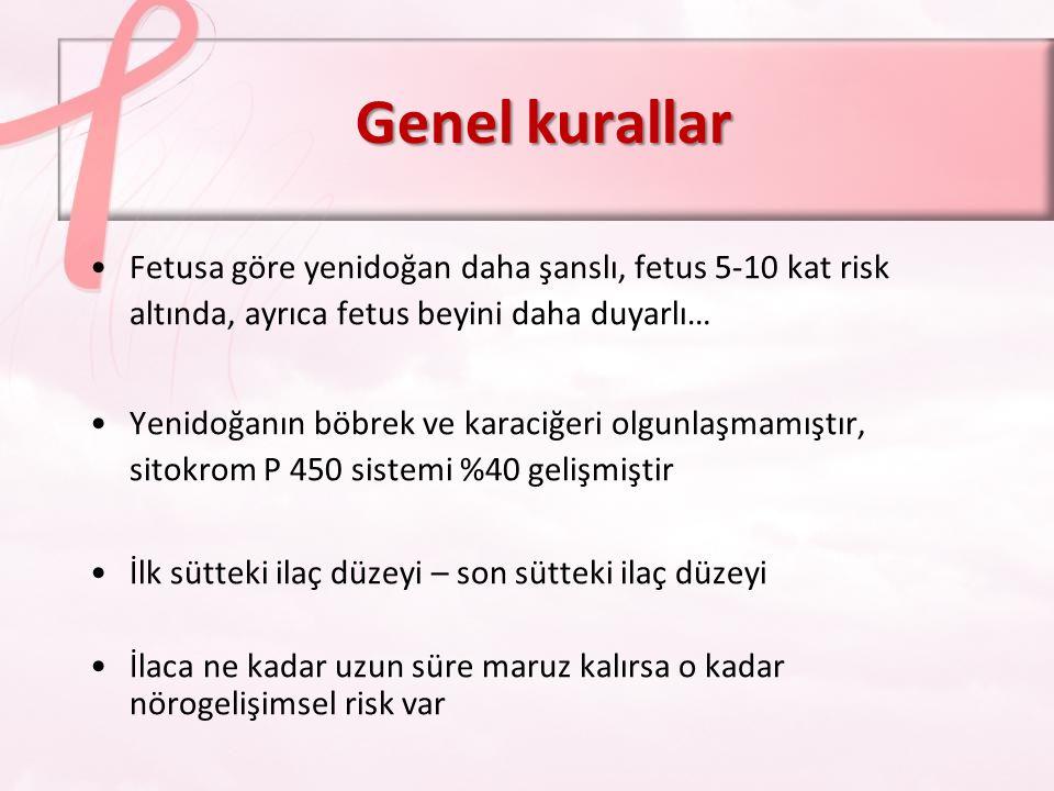 Genel kurallar Fetusa göre yenidoğan daha şanslı, fetus 5-10 kat risk altında, ayrıca fetus beyini daha duyarlı…