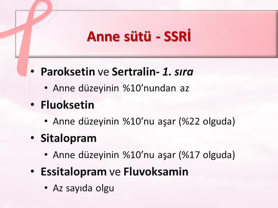 Anne sütü - SSRİ Paroksetin ve Sertralin- 1. sıra Fluoksetin